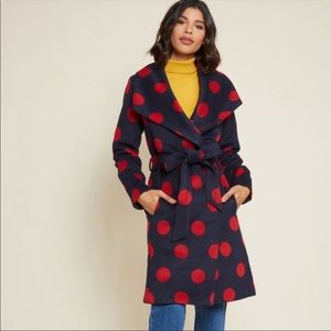 ModCloth Swing Jacket Medium Navy/Red Polka Dots